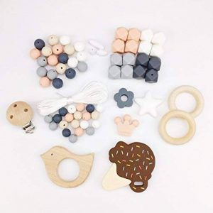 Mamimami Home DIY Nursing Necklace Teething Beads Silicone Bracelet Baby Teether Pacifier Clips Nurse Charms de la marque Mamimami Home image 0 produit
